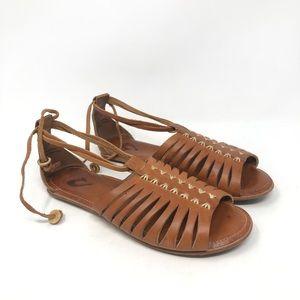 OluKai Hikina Leather Strappy Ankle Tie Sandals 7